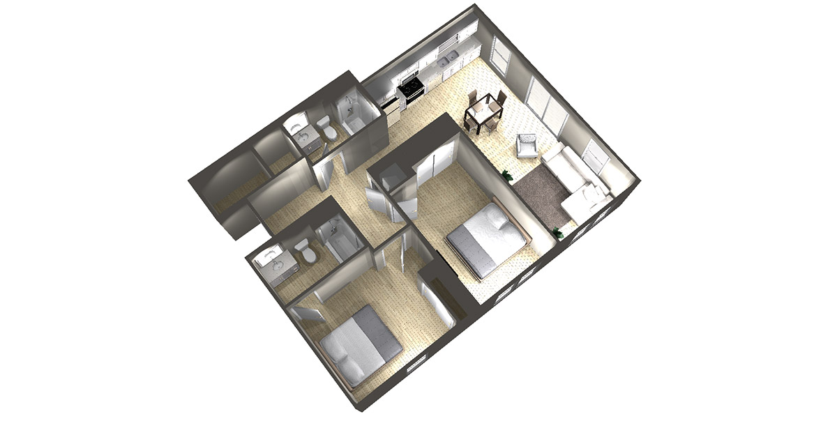 2 Bedroom (#1) - Arabella Floor Plans