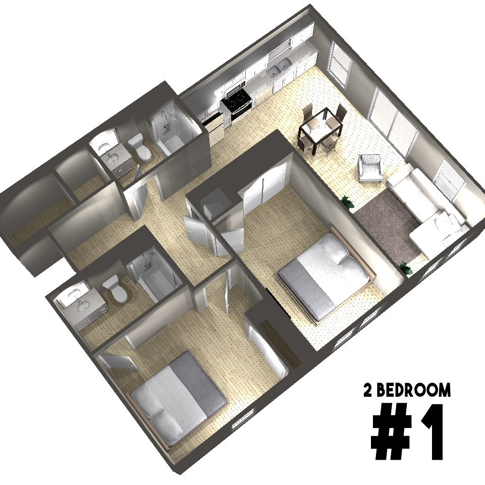 2 Bedroom Floor Plan | Arabella