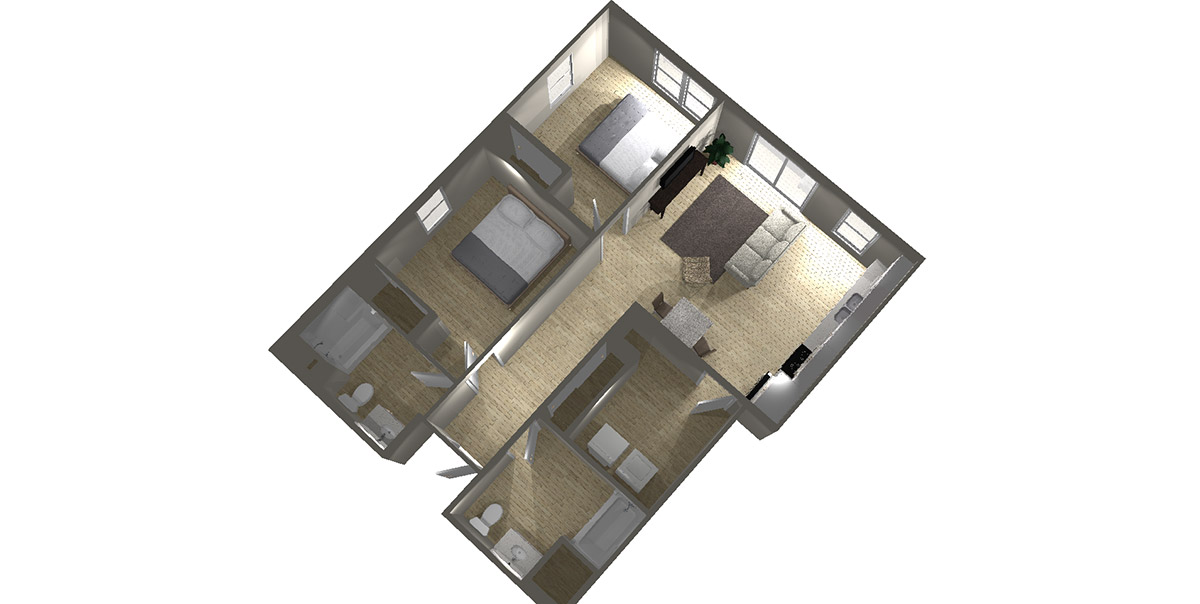 2 Bedroom (#2) - Arabella Floor Plans